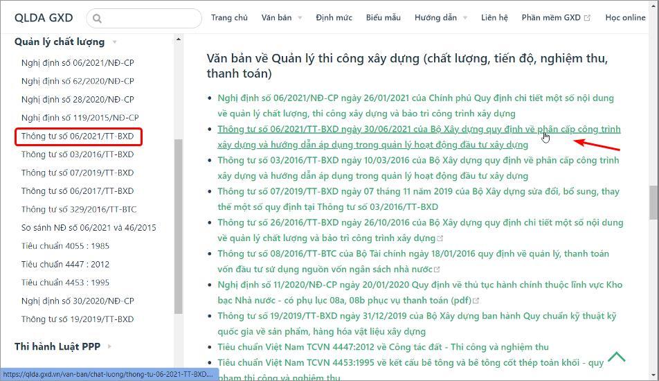Tra cứu các văn bản như Thông tư số 06/2021/TT-BXD của Bộ Xây dựng dễ dàng tại địa chỉ qlda.gxd.vn